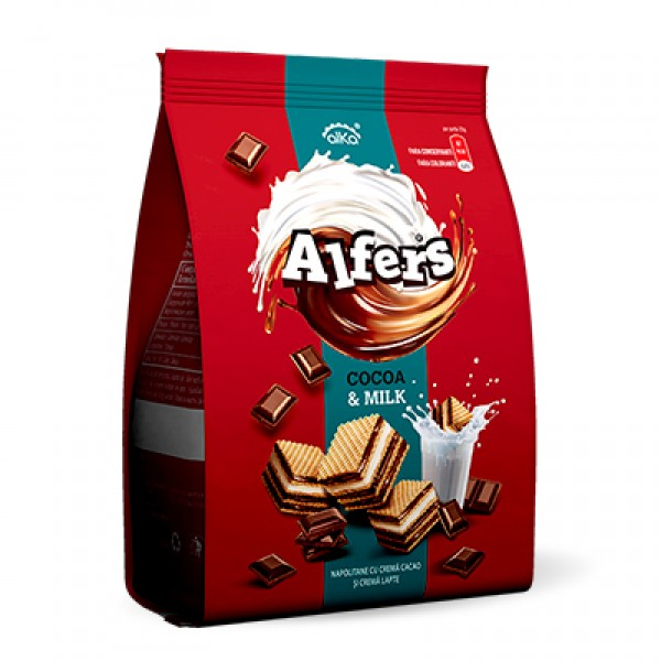 ALFERS WAFERS COCOA & MILK 180 GR 10/BAX