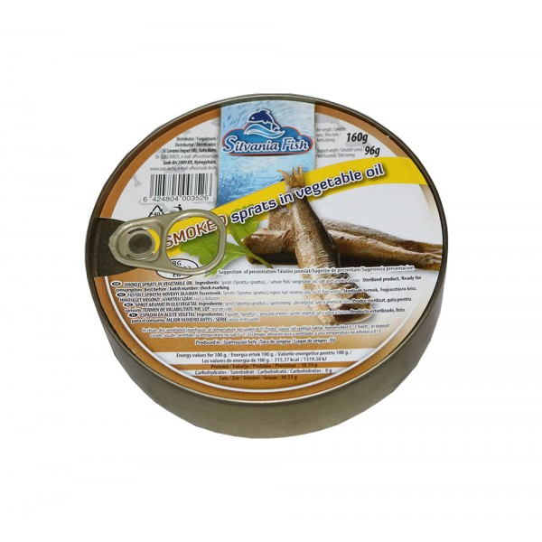 SILVANIA FISH SMOKED SPRATS IN VEGETABLE OIL 160GR